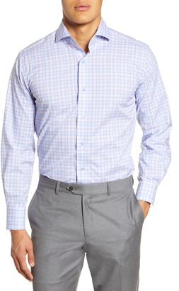 Lorenzo Uomo Trim Fit Stretch Plaid Dress Shirt