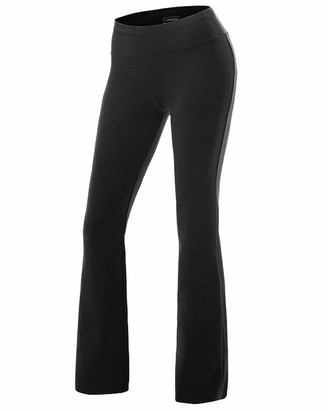 Daihan Women Casual Boot Cut Yoga Trousers Ladies Stretch Softy Flare Pants Pilates Workout Gym Leggings Black M