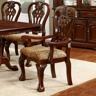 Astoria Grand Cheng Queen Anne Back Arm Chair in Brown