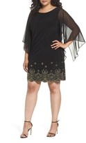 Xscape Evenings Plus Size Women's Embellished Chiffon Shift Dress