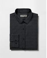 Express slim micro print dress shirt