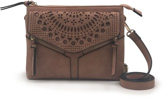 Violet Ray Laser-Cut Faux-Suede Crossbody - Leanna