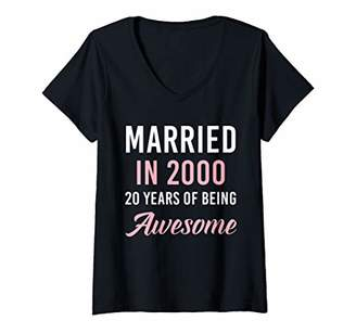 Womens Married in 2000 20 Years Of Being Awesome V-Neck T-Shirt