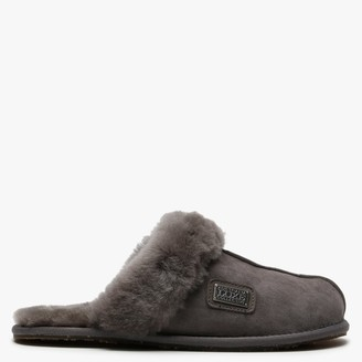 Australia Luxe Collective Grey Double-Face Sheepskin Closed Mule Slippers