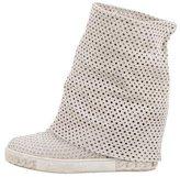 Casadei Perforated Suede Wedge Sneakers