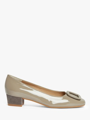 John Lewis & Partners Aurora Leather Low Block Heel Court Shoe, Grey