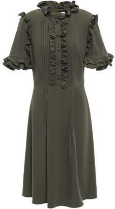Mikael Aghal Ruffle-trimmed Pintucked Cady Dress