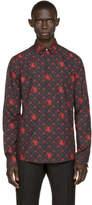 Versus Black and Red Patterned Poplin Shirt
