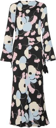 Marni Embellished Printed Silk Crepe Dmaxi Dress