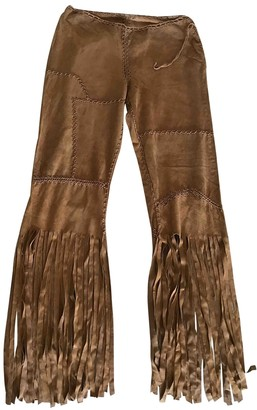 Non Signé / Unsigned Non Signe / Unsigned Hippie Chic Camel Leather Trousers