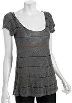 grey stripe 'Shine' flutter sleeve t-shirt