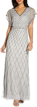 Adrianna Papell Blouson Beaded Dress