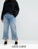Asos Authentic Straight Leg Jeans In Oxford Wash with Fringed Hem