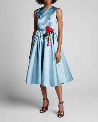 Prada Duchess Satin Full-Skirt Dress