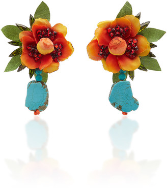 Ranjana Khan Brass And Turquoise Floral Drop Earrings