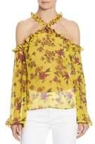 Scripted Ruffled Cold-Shoulder Floral-Print Blouse