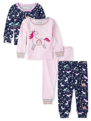 The Children's Place Baby & Toddler Girls Long Sleeve Snug Fit Cotton Pajamas, 4pc Set (18/24M-5T)