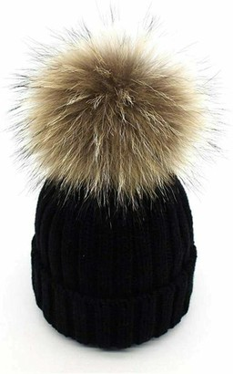 Diffusion Women Girls Warm Winter Crochet Hat Wool Knitted Beanie with Large Fur Pom Pom Black
