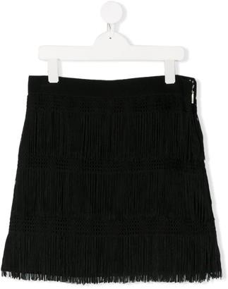 Alberta Ferretti Kids TEEN fringed side zip skirt