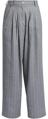 Giorgio Armani Striped Linen & Silk Pleated Trousers