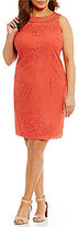 Jessica Howard Plus Crochet-Neck Shift Dress