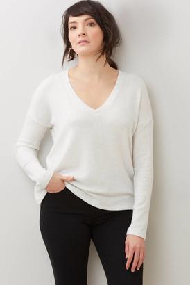 Red Haute Mixed Rib Slit Back Sweatshirt Grey S