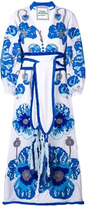 Yuliya Magdych Belted Embroidered Dress