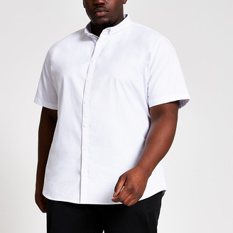River Island Big and Tall white slim fit Oxford shirt