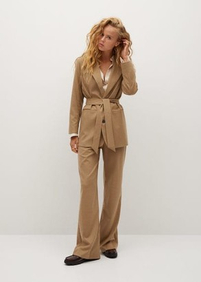 MANGO Belt suit blazer beige - 1 - Women