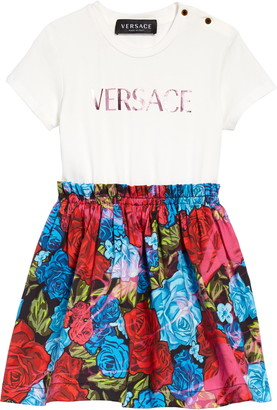 Versace Kids' Tie Dye Roses Mock Two-Piece Dress