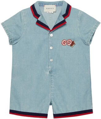 Gucci Baby denim one-piece with GG