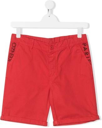 Kenzo Kids TEEN logo chino shorts