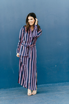 Shabby Apple Rayas Maxi Dress Navy