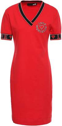 Love Moschino Embroidered French Cotton-terry Mini Dress