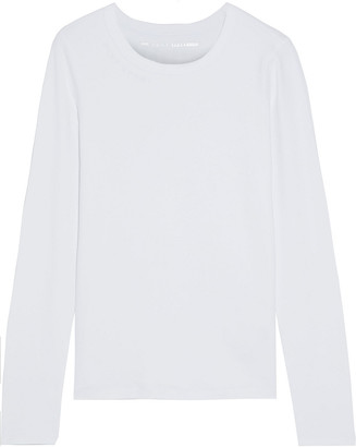 DKNY Embroidered Stretch Cotton And Modal-blend Jersey Top