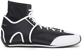 adidas by Stella McCartney Boxing Mesh And Faux Suede High-top Sneakers