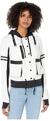 Blanc Noir Skyfall Bomber Jacket (White/Black) Women's Clothing