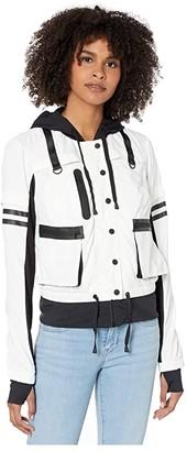 Blanc Noir Skyfall Bomber Jacket (White/Black) Women's Clothing