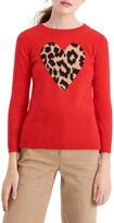 J.Crew Leopard Heart Everyday Cashmere Sweater