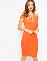 Forever Unique Krista Midi Bandage Dress with Ring Detail
