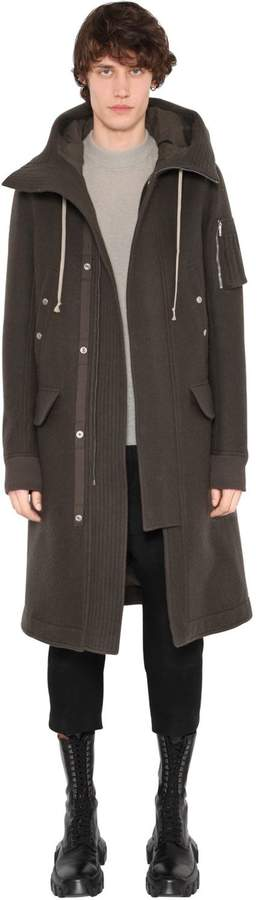 Rick Owens Hooded Boiled Wool Long Parka