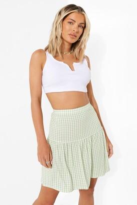boohoo Gingham Mini Skater Skirt