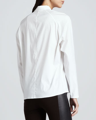 Theory Bida Stretch Front-Zip Blouse