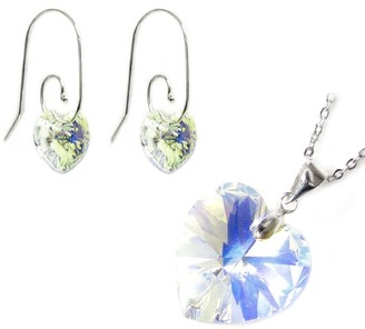 Queenberry 925 Sterling Silver Necklace Clear AB Heart Pendant Earrings Made W/. Swarovski Elements Crystal