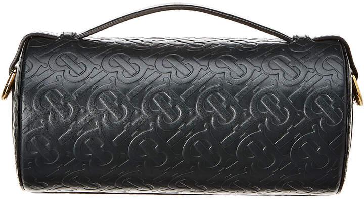 Burberry Monogram Leather Barrel Bag