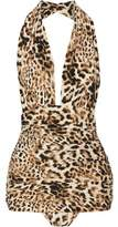 Norma Kamali Bill Ruched Leopard-Print Halterneck Swimsuit