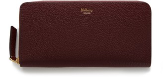 Mulberry 8 Card Zip Around Wallet Burgundy Small Classic Grain