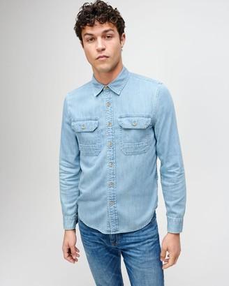 7 For All Mankind Flap Pocket Denim Shirt in Washed Indigo