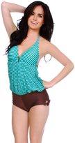Simplicity New Ladies Halter Padded Green Striped Swimwear Size L