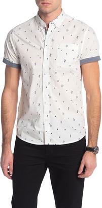 Report Collection Bird Print Short Sleeve Slim Fit Shirt